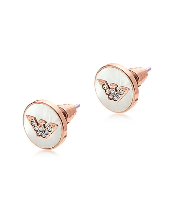 Emporio Armani - Signature Rose Gold PVD Stainless Steel Earrings