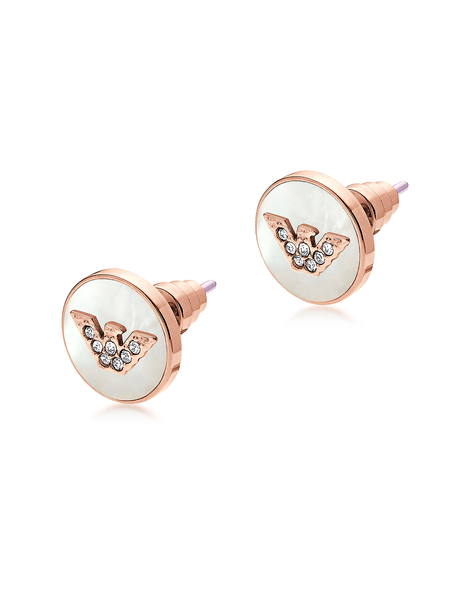 Emporio Armani Earrings, Signature Rose Gold PVD Stainless Steel Earrings