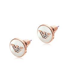Ohrringe aus Edelstahl in rosegold mit Logo - Emporio Armani