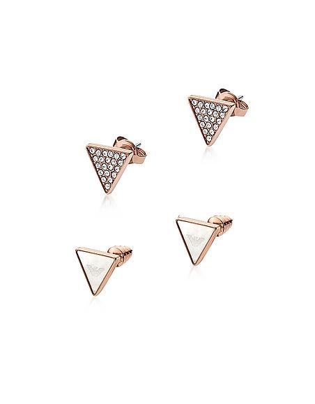 Emporio Armani Signature - Boucles d'Oreilles Triangulaires en Acier Inoxydable Or Rose