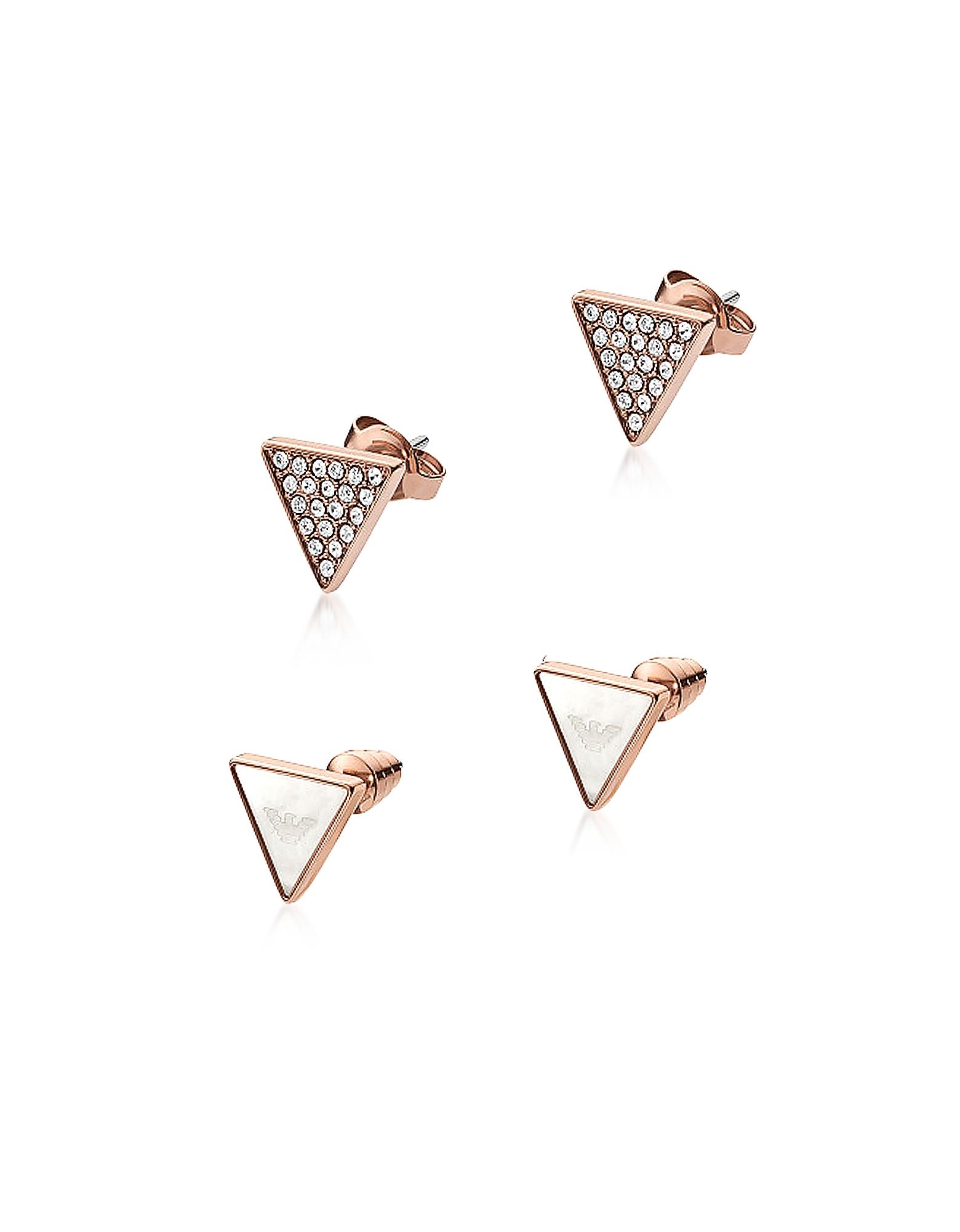 Фирменные Треугольные Серьги Оттенка Розового Золота