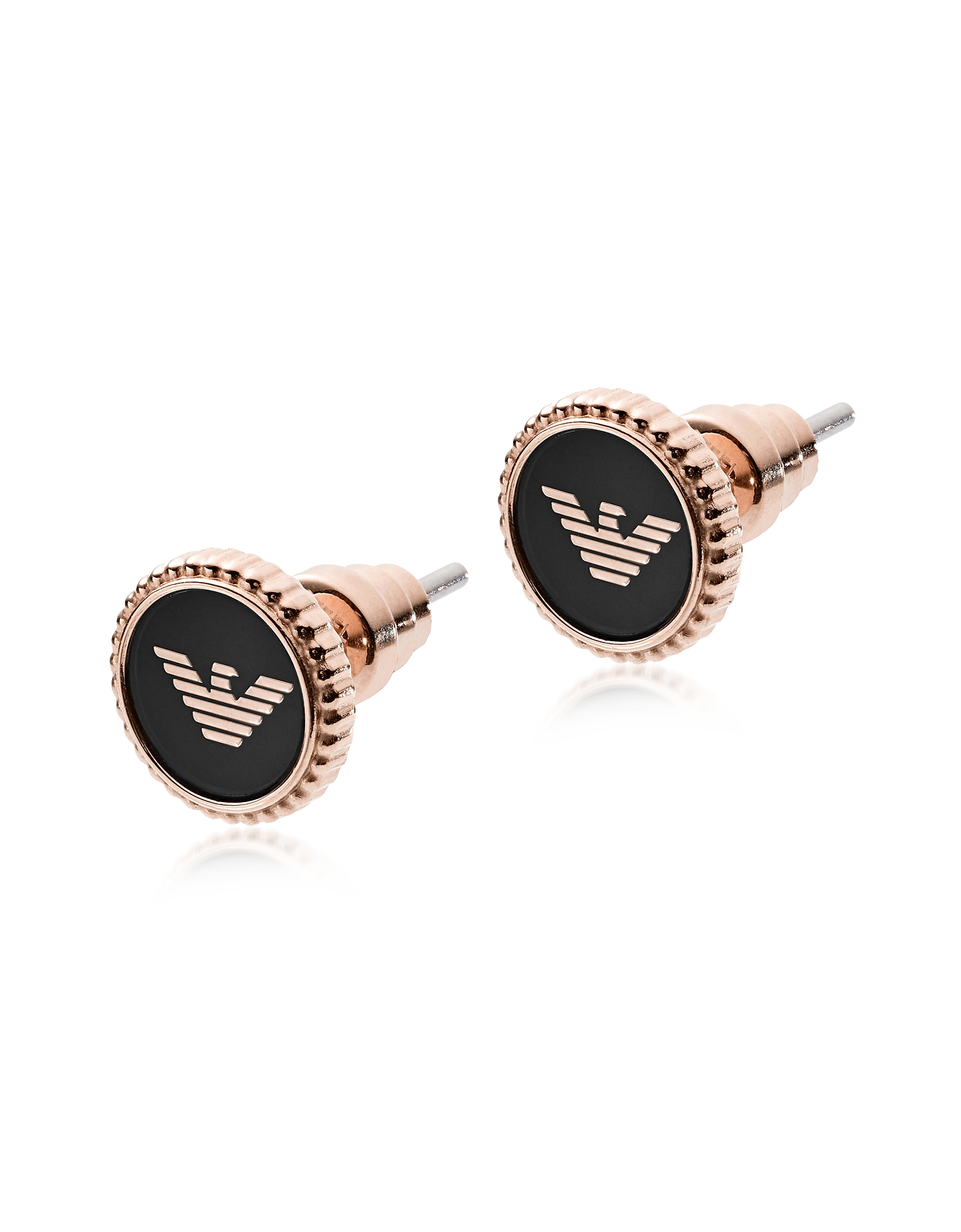 Rose Gold Stainless Steel and Black Enamel Signature Women's Earrings