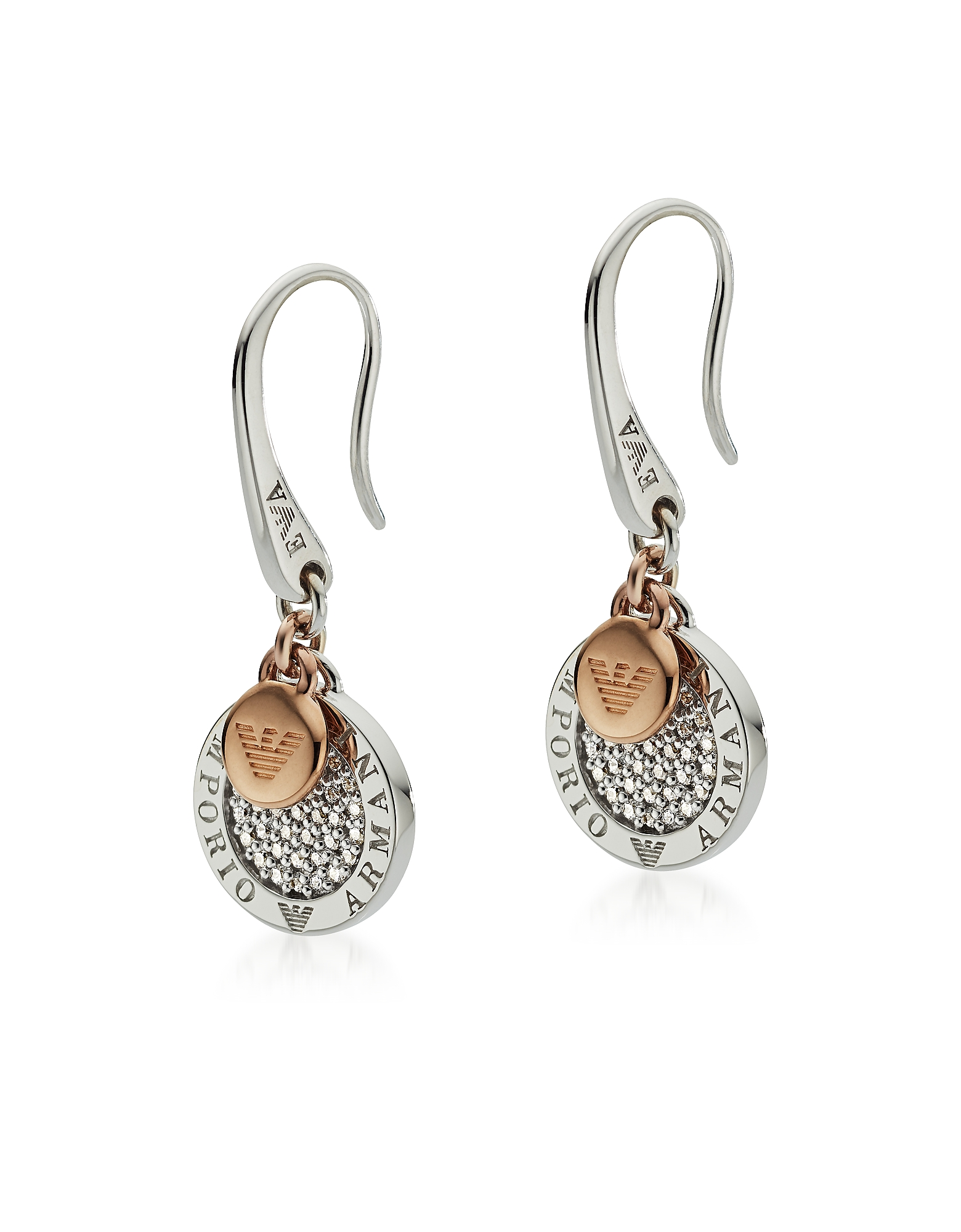 Two-Tone Signature Earring, Silver
