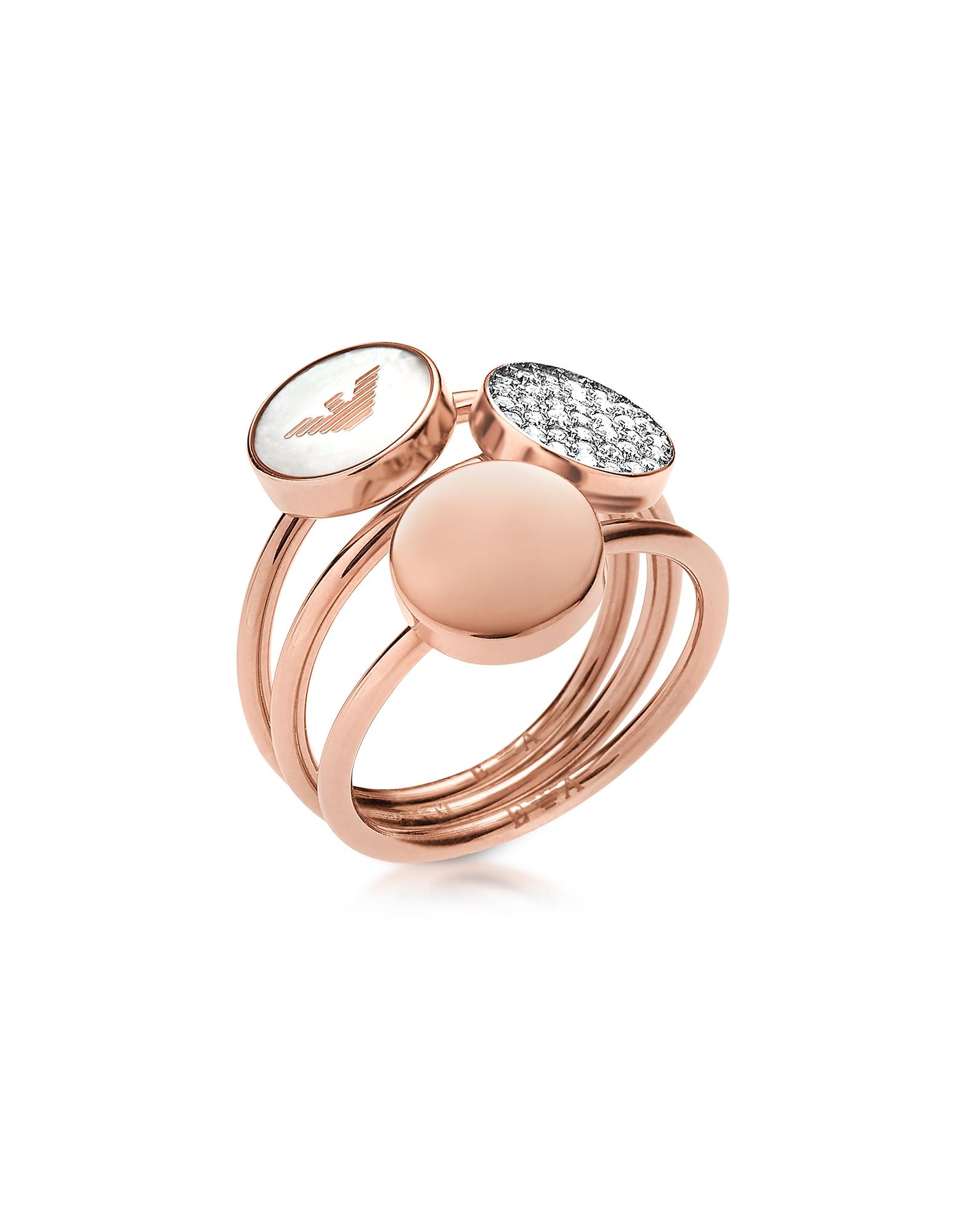 Emporio Armani Rings, Signature Rose Goldtone Triple Ring