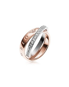 Heritage Rose Goldtone Double Ring w/Crystals - Emporio Armani