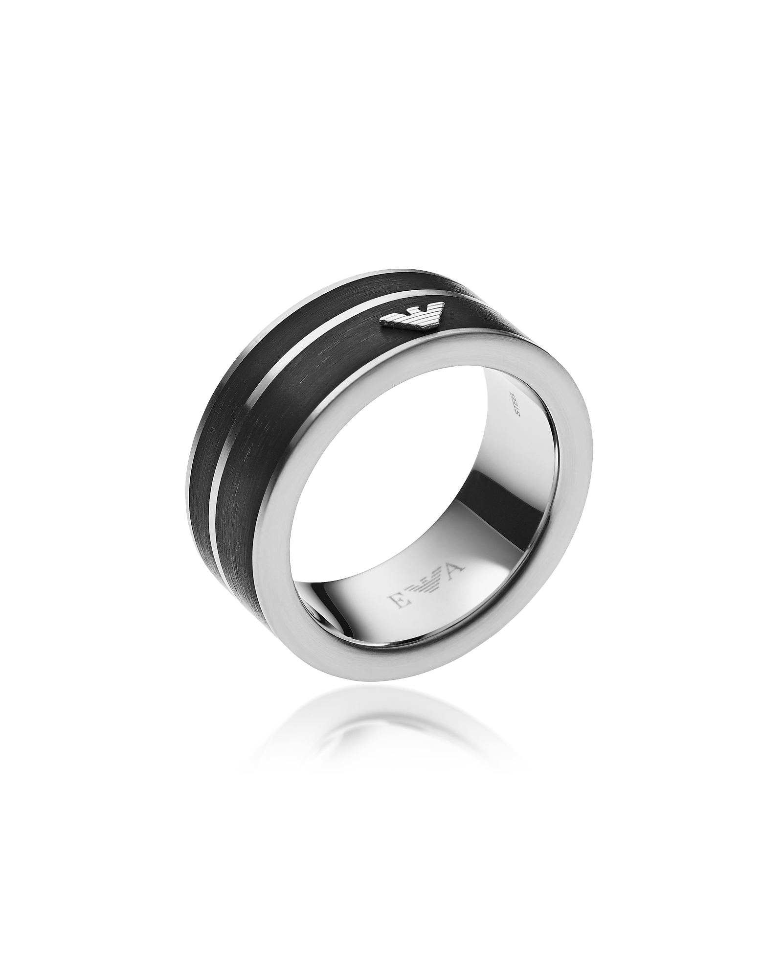 Black Stainless Steel Signature Men's Ring, Silver