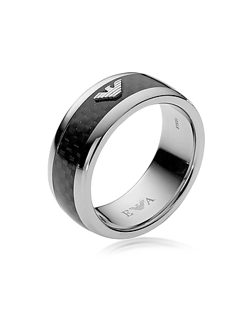 Emporio Armani - Iconic Carbon Fiber and Stainless Steel Men's Ring