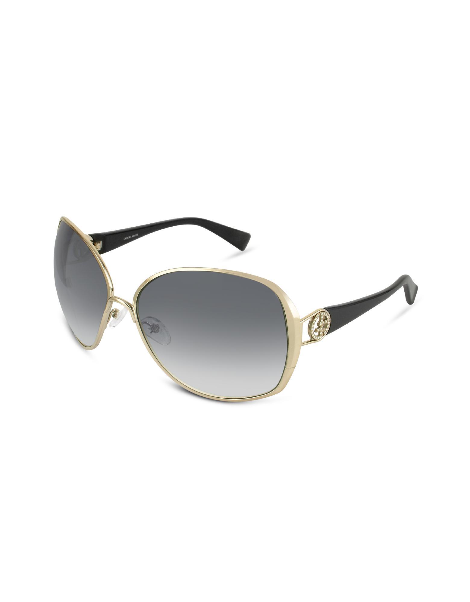 Giorgio Armani  Swarovski Crystal Logo Round Metal Sunglasses