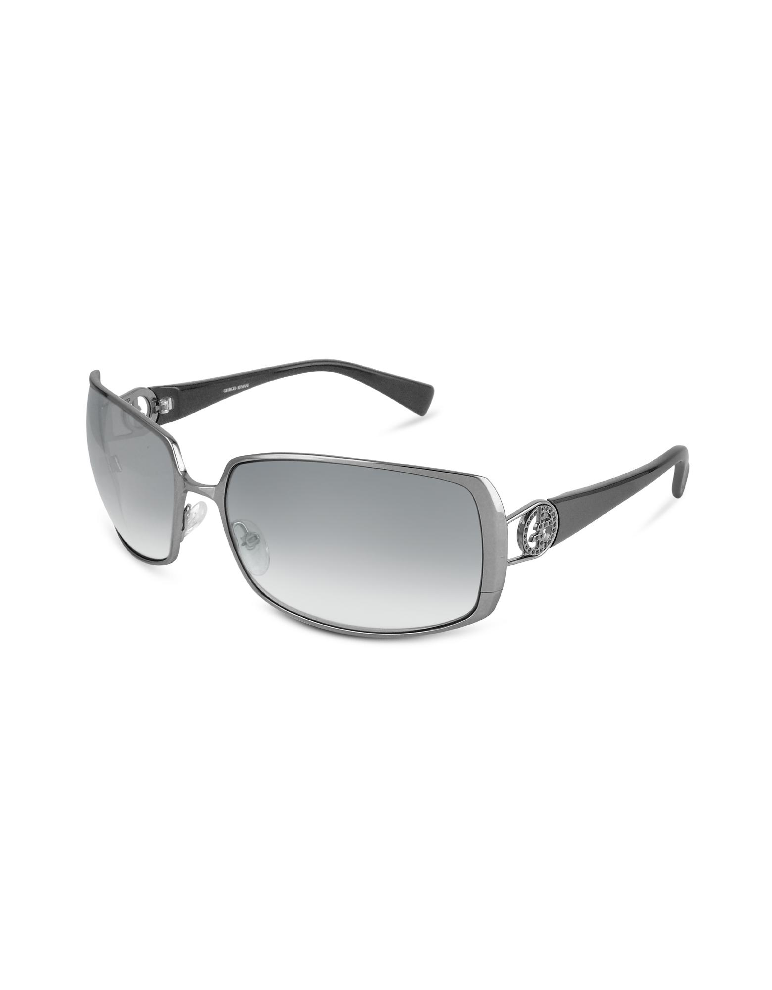 Giorgio Armani  Swarovski Crystal Logo Rectangular Metal Sunglasses
