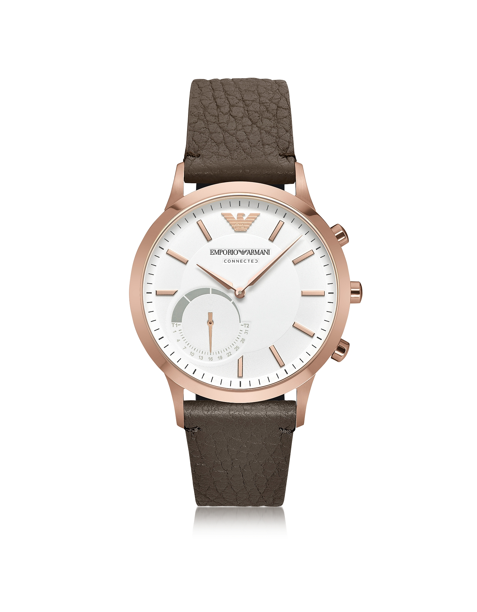 Connected Rose Gold-Tone PVD Stainless Steel Hybrid Men's Smartwatch w/Leather Strap Emporio Armani