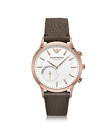Connected Rose Gold-Tone PVD Stainless Steel Hybrid Men's Smartwatch w/Leather Strap - Emporio Armani