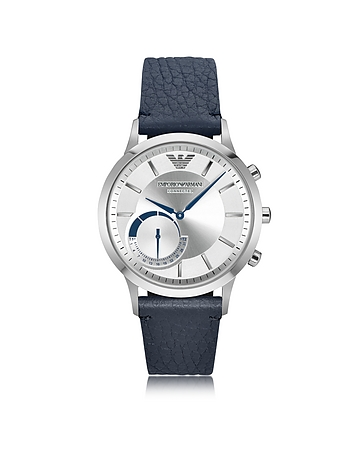 Emporio Armani - Connected Stainless Steel Hybrid Men's Smartwatch w/Blue Leather Strap