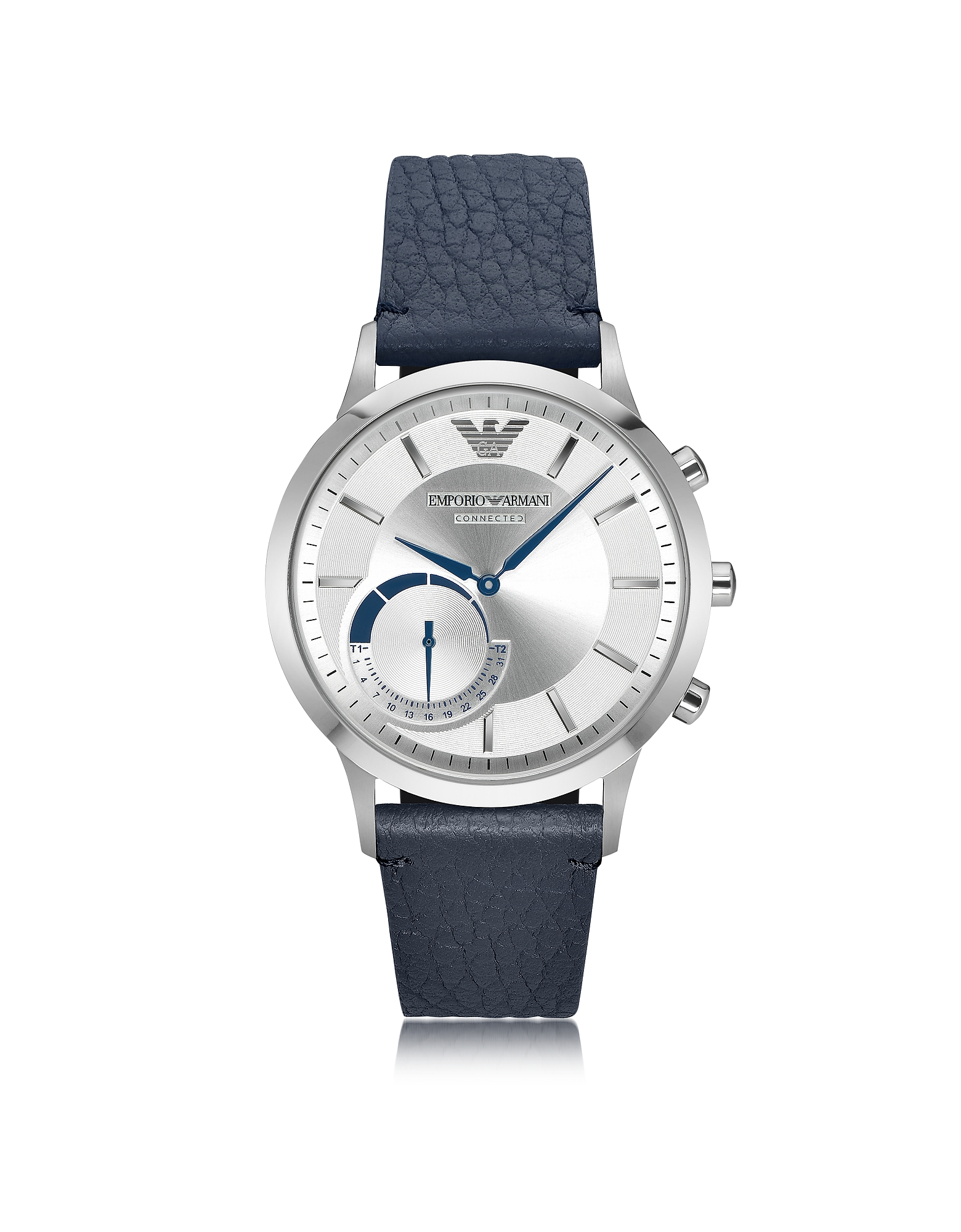 Emporio Armani Men's Watches, Connected Stainless Steel Hybrid Men's Smartwatch w/Blue Leather Strap