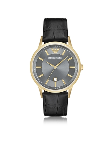 Emporio Armani - Gold-tone PVD Stainless Steel Men's Quartz Watch w/Croco Embossed Leather Strap