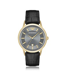 Gold-tone PVD Stainless Steel Men's Quartz Watch w/Croco Embossed Leather Strap - Emporio Armani