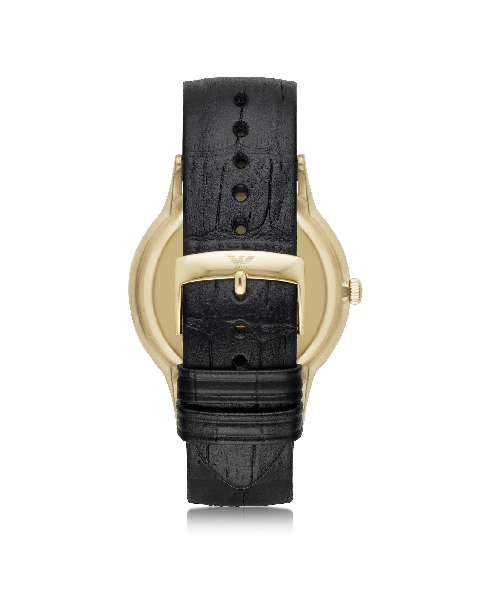 Gold-tone PVD Stainless Steel Men's Quartz Watch w/Croco Embossed Leather Strap от Forzieri.com INT