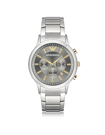 Emporio Armani - Stainless Steel Men's Chronograph Watch w/Gray Dial