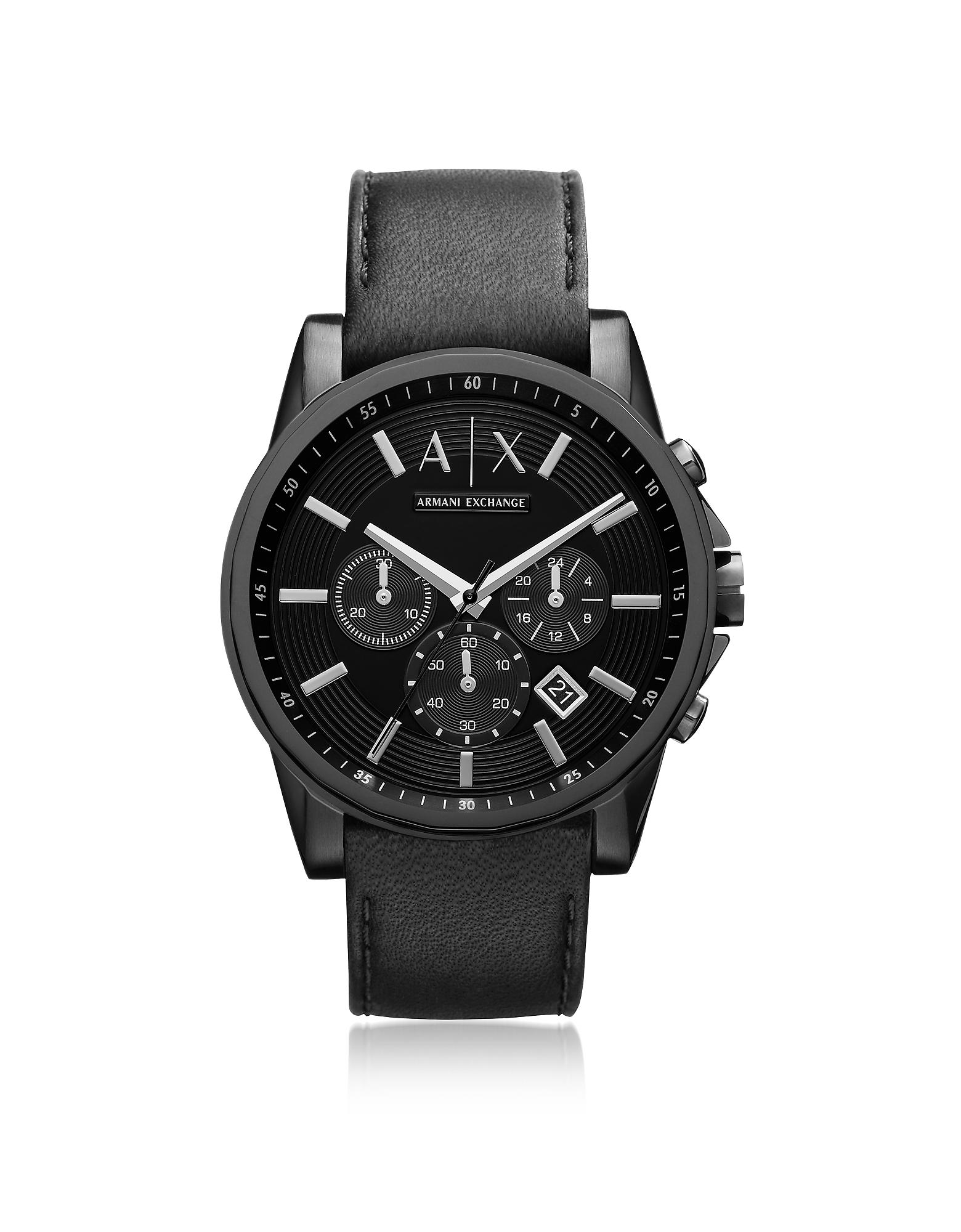 Armani Exchange Men's Watches, Outerbanks Black Leather Men's Watch