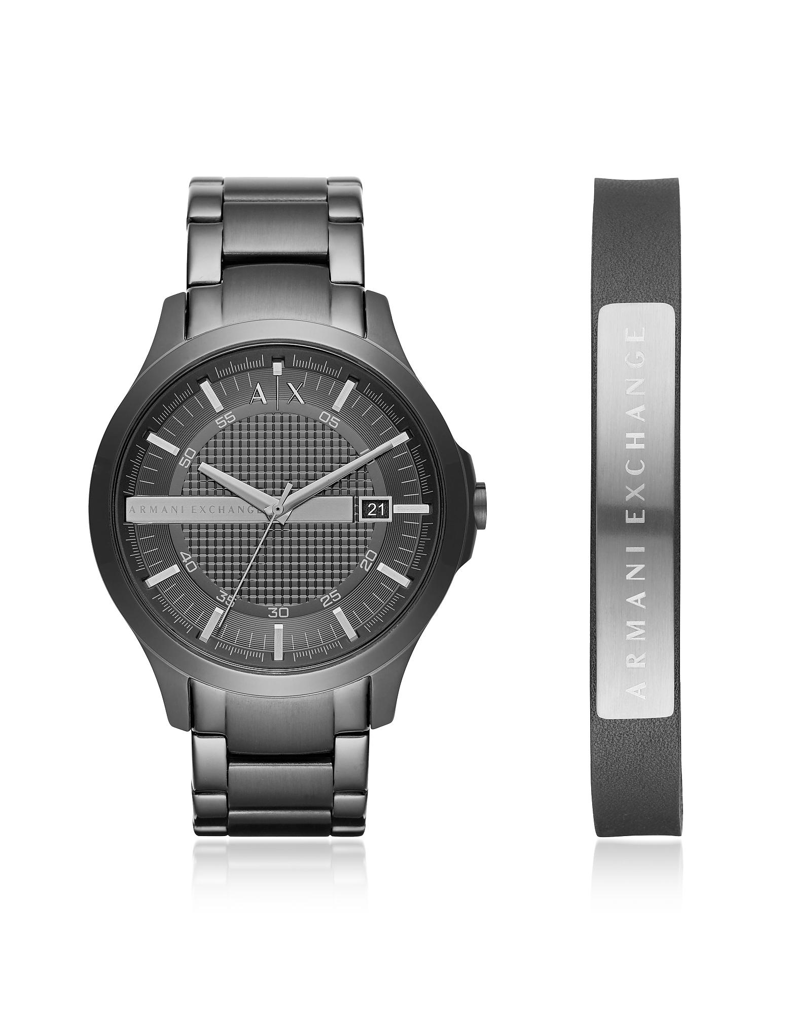 Серые Мужские Часы Hampton с Браслетом ARMANI EXCHANGE