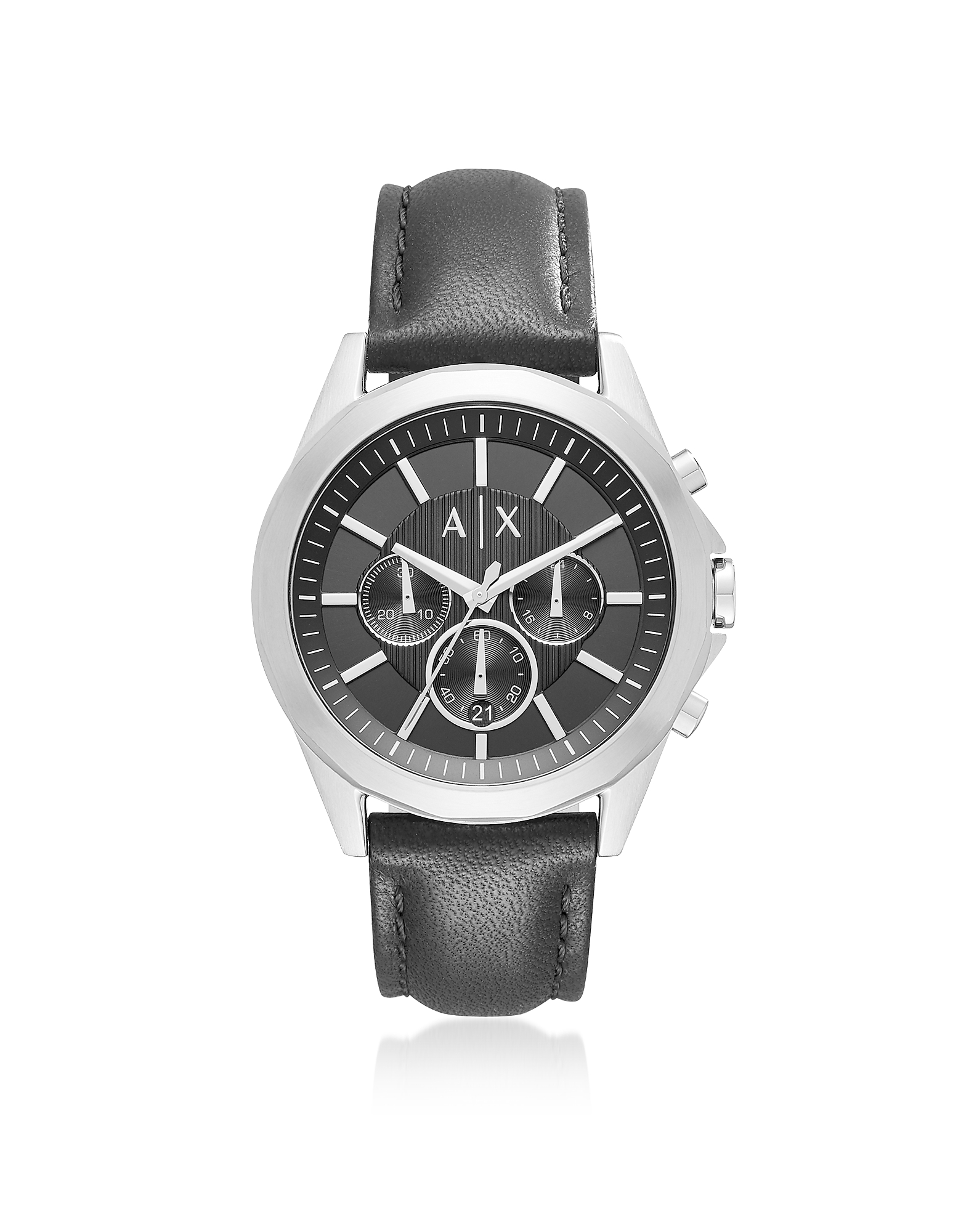 Drexler Black Dial with Black Leather Men's Chronograph Watch
