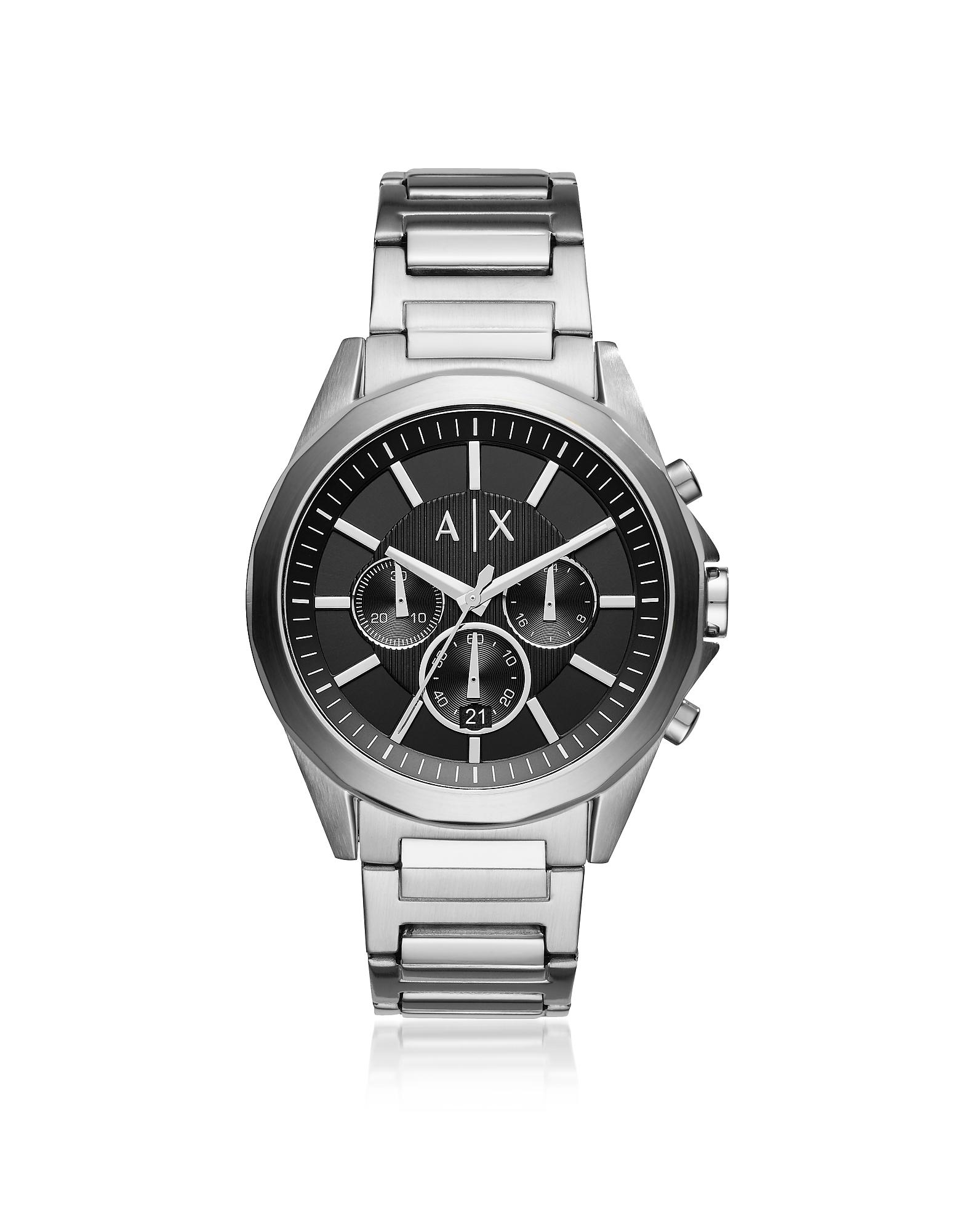 Drexler Black Dial and Silver Tone Men's Chronograph Watch