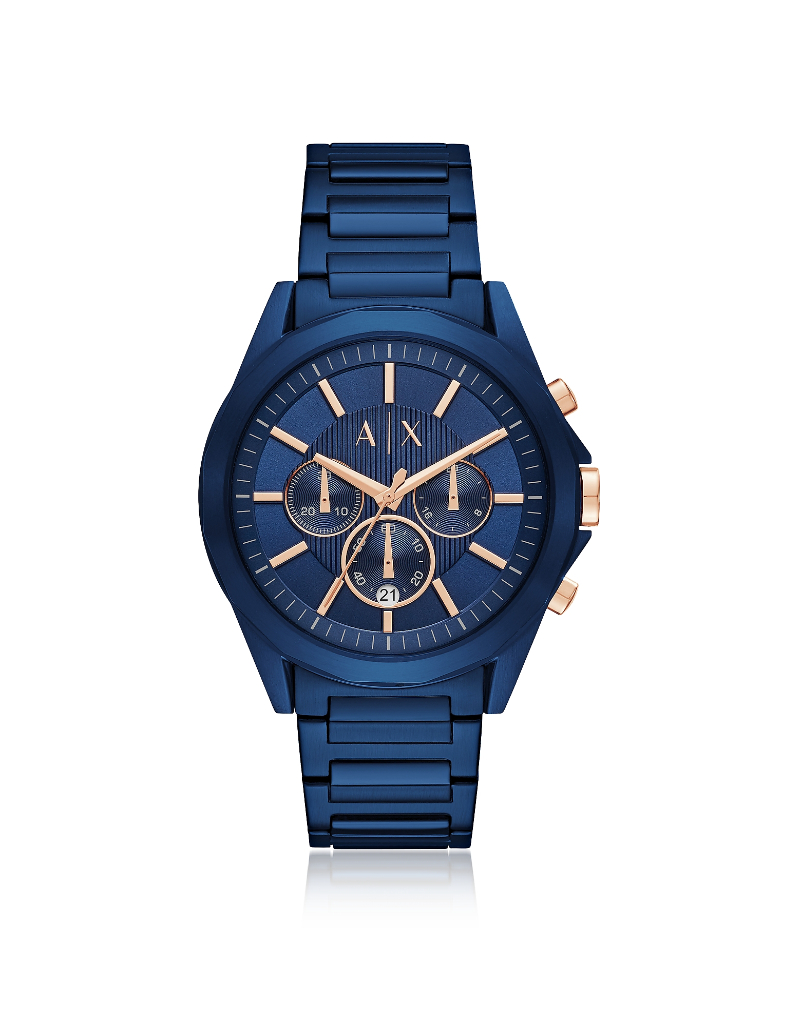 Drexler Blue Dial and Blue Tone Stainless Steel Men's Chronograph Men's Watch
