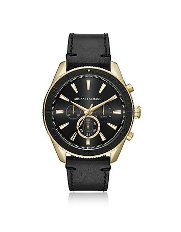 Armani Exchange AIX Gold Tone and Black Leather Men's Chronograph Watch