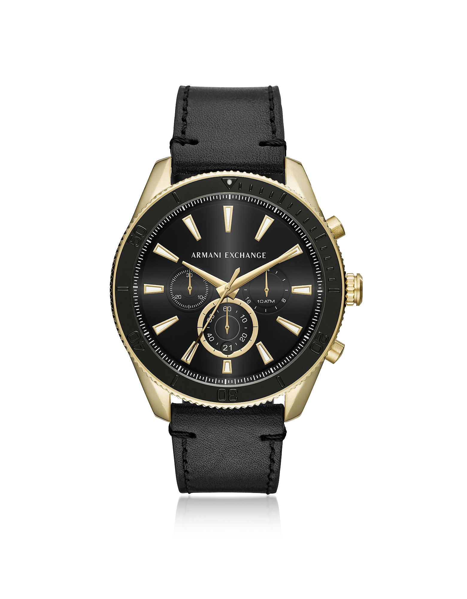 Armani Exchange Men's Watches, AIX Gold Tone and Black Leather Men's Chronograph Watch