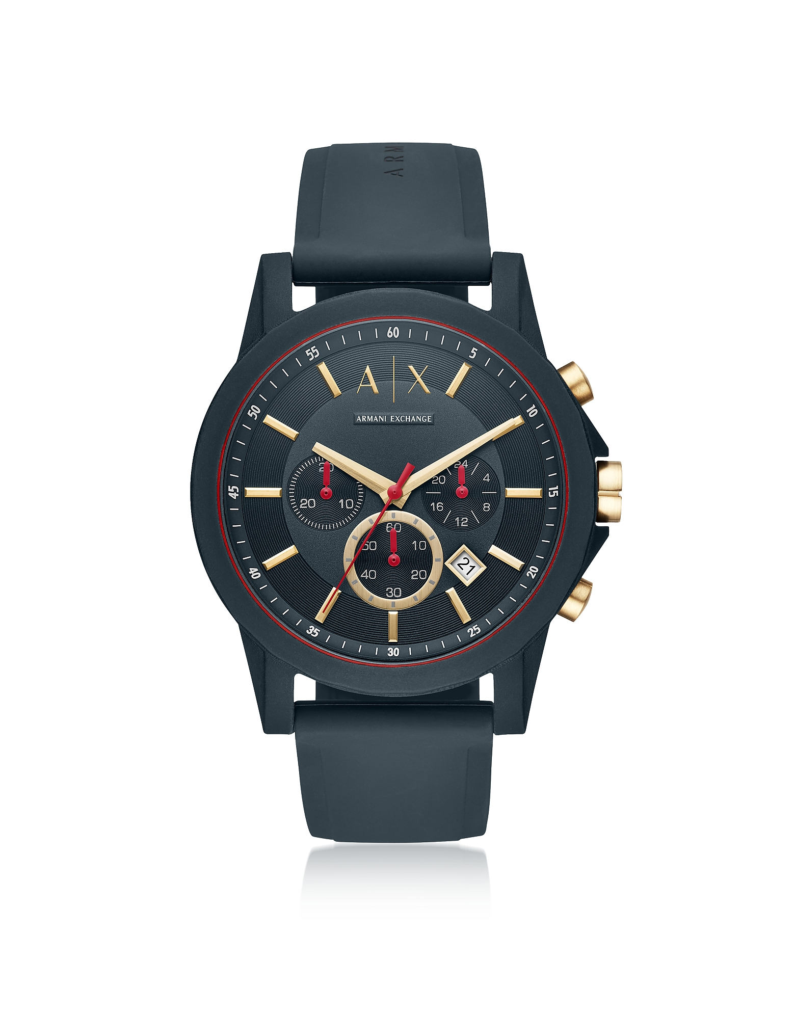 Armani Exchange Men's Watches, AIX Blue Silicone Men's Chronograph Watch