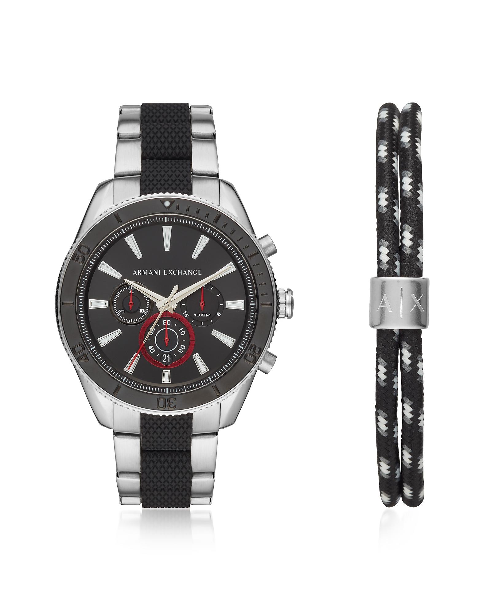 Набор Enzo - Серебристые и Черные Мужские Часы Хронограф с Браслетом Emporio Armani