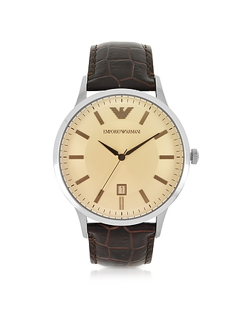 Emporio Armani - Stainless Steel Men's Watch w/Embossed Leather Strap
