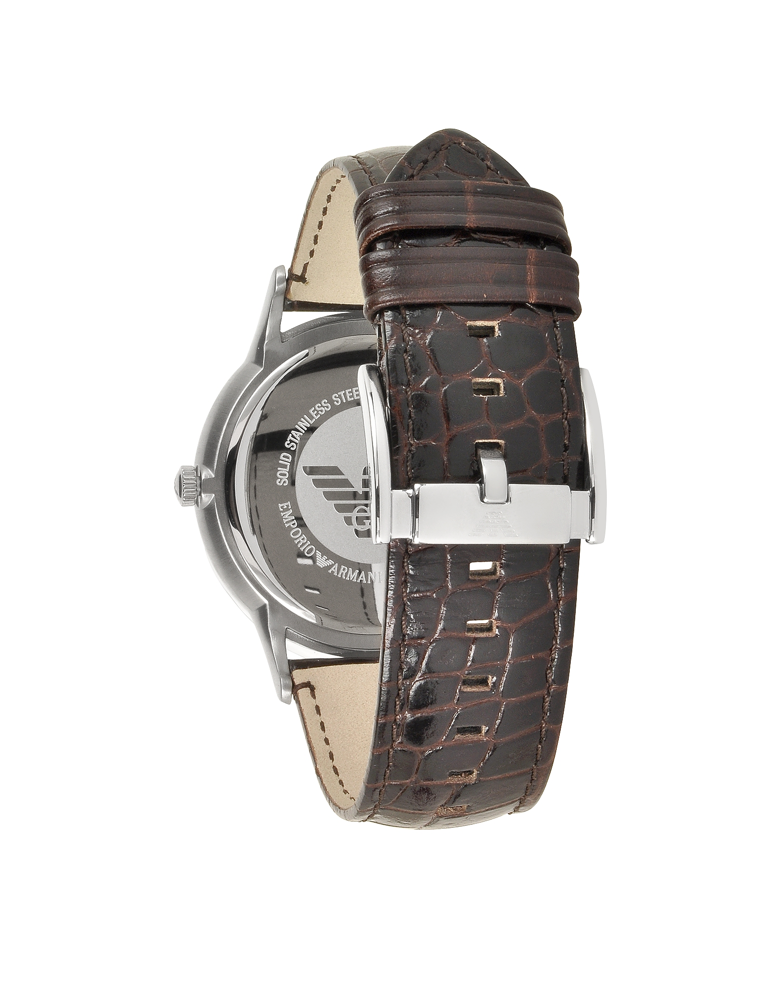 Stainless Steel Men's Watch w/Embossed Leather Strap от Forzieri.com INT