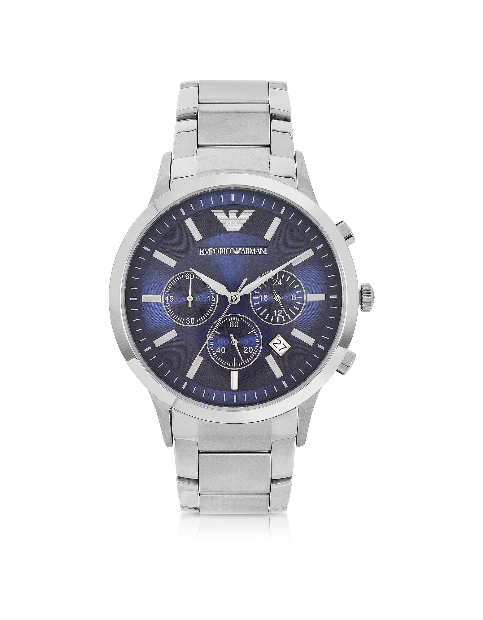 Emporio Armani Men's Watches, Men's Blue Dial Stainless Steel Chrono Watch