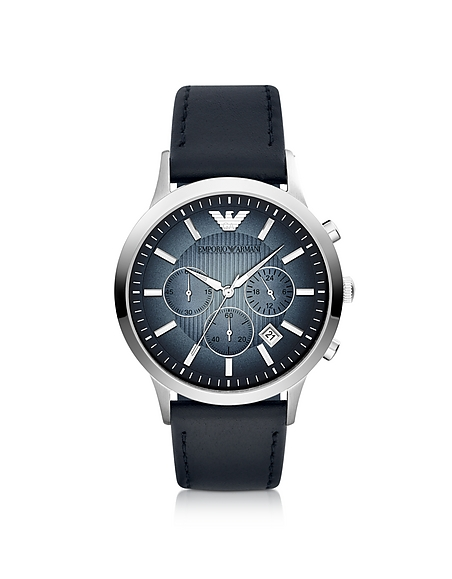 Emporio Armani Chronograph Leather Band Mens Watch
