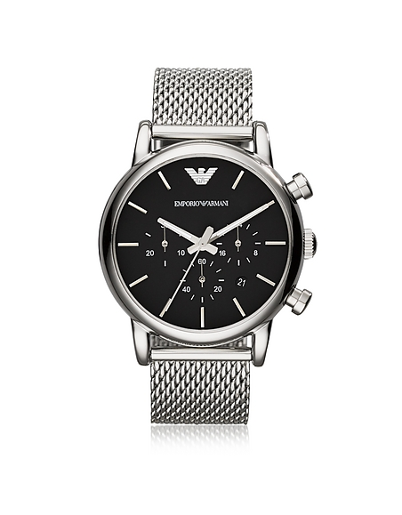 Emporio Armani Stainless Steel Black Dial Mens Watch w Mesh Band