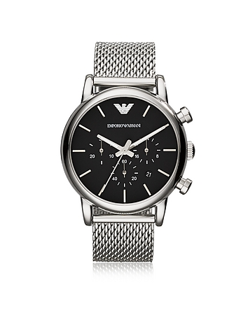 Emporio Armani - Stainless Steel Black Dial Men's Watch w/Mesh Band