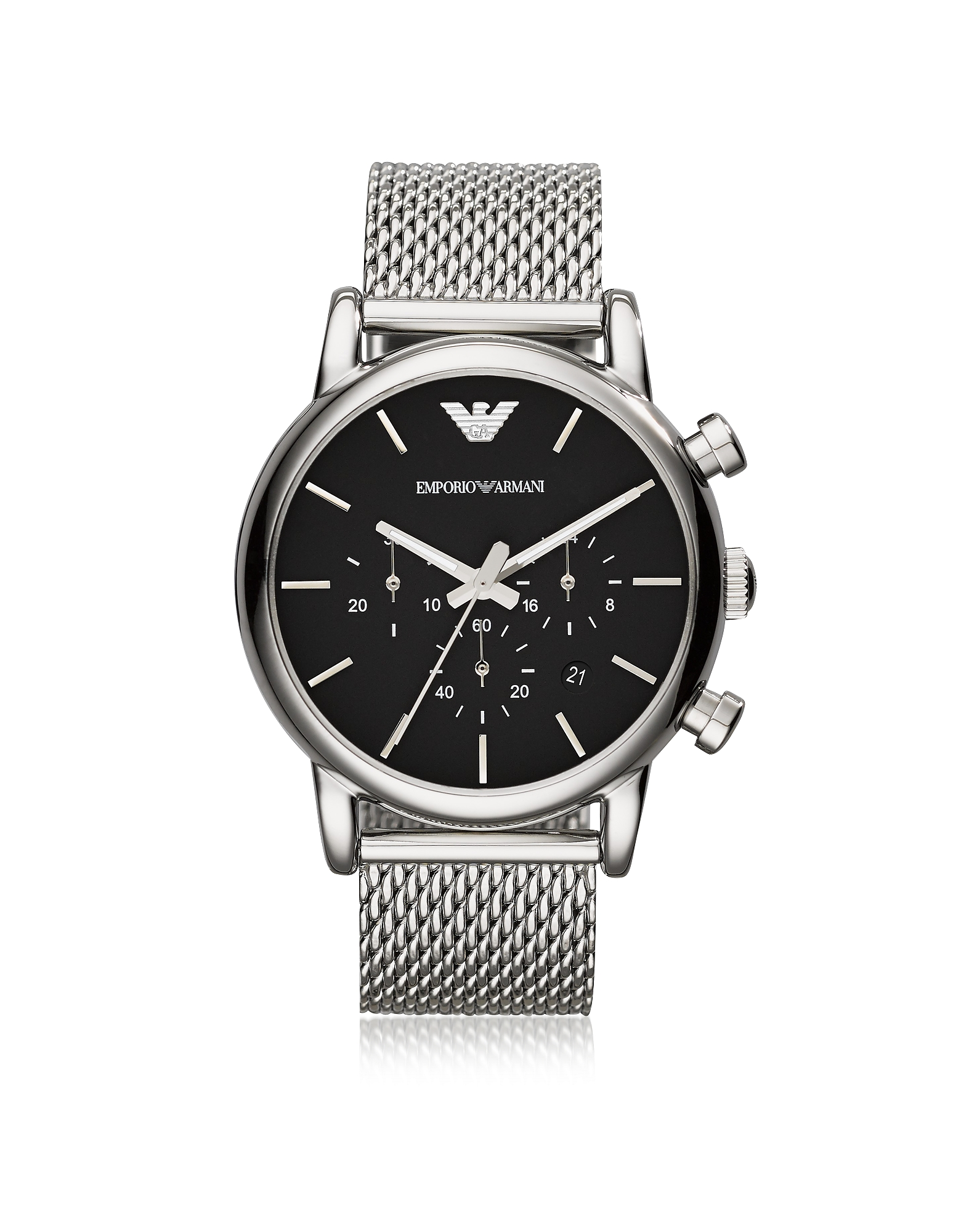 Emporio Armani Men's Watches, Stainless Steel Black Dial Men's Watch w/Mesh Band