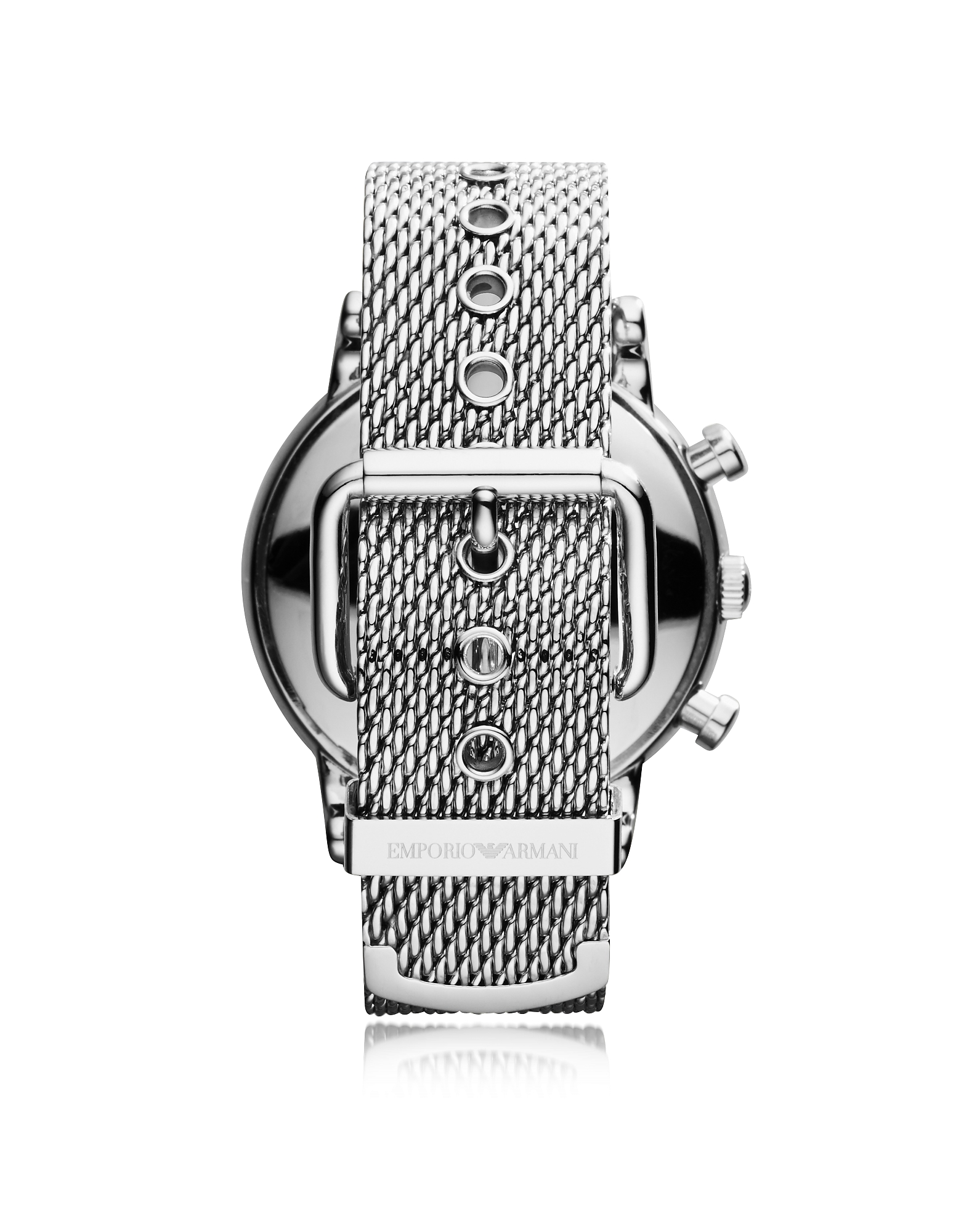 Stainless Steel Black Dial Men's Watch w/Mesh Band от Forzieri.com INT