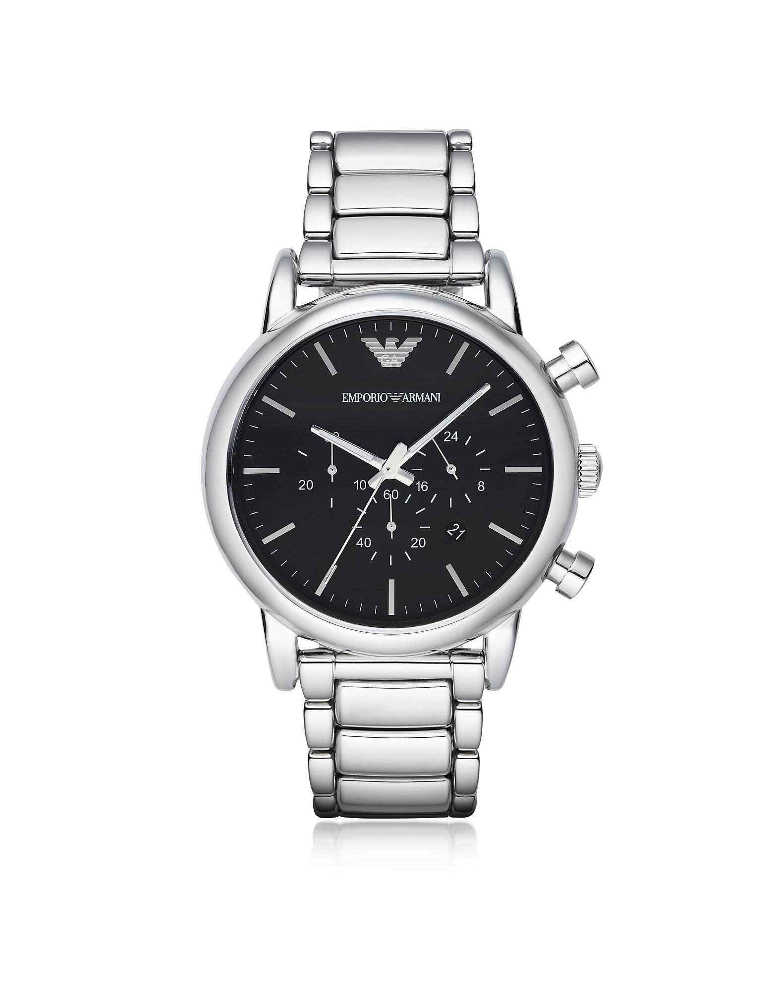 Серебристые Мужские Часы из Нержавеющей Стали с Черным Циферблатом