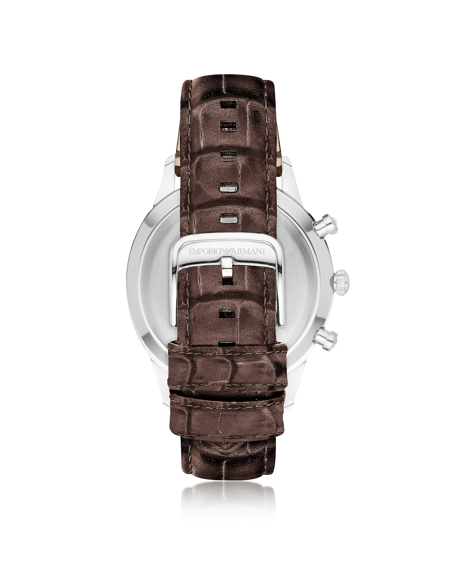 Stainless Steel Round Case Men's Watch w/Croco Embossed Leather Strap от Forzieri.com INT