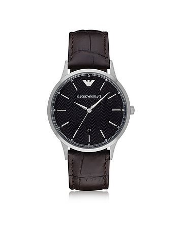 Black Dial Stainless Steel Men's Watch w/Leather