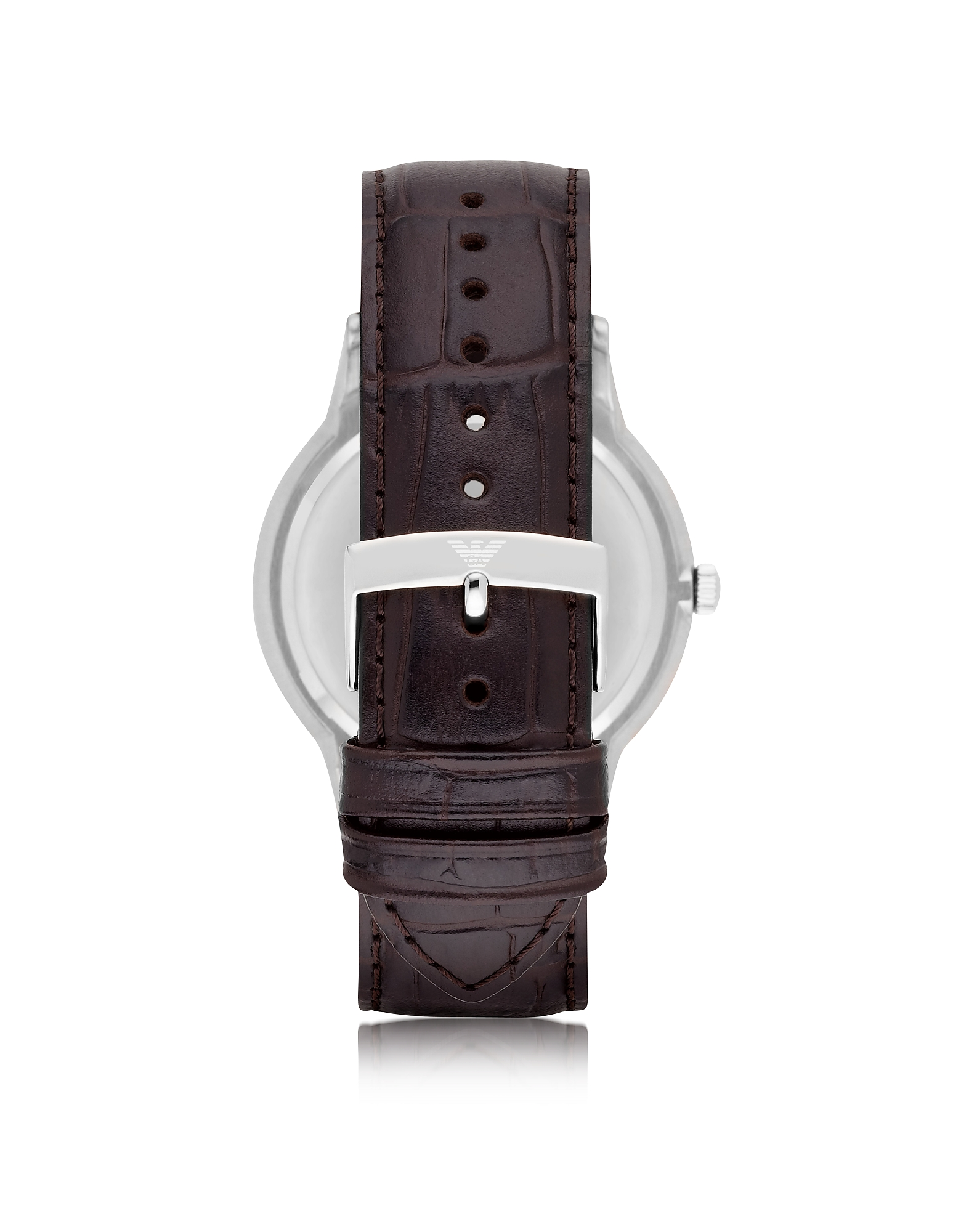 Black Dial Stainless Steel Men's Watch w/Leather Strap от Forzieri.com INT