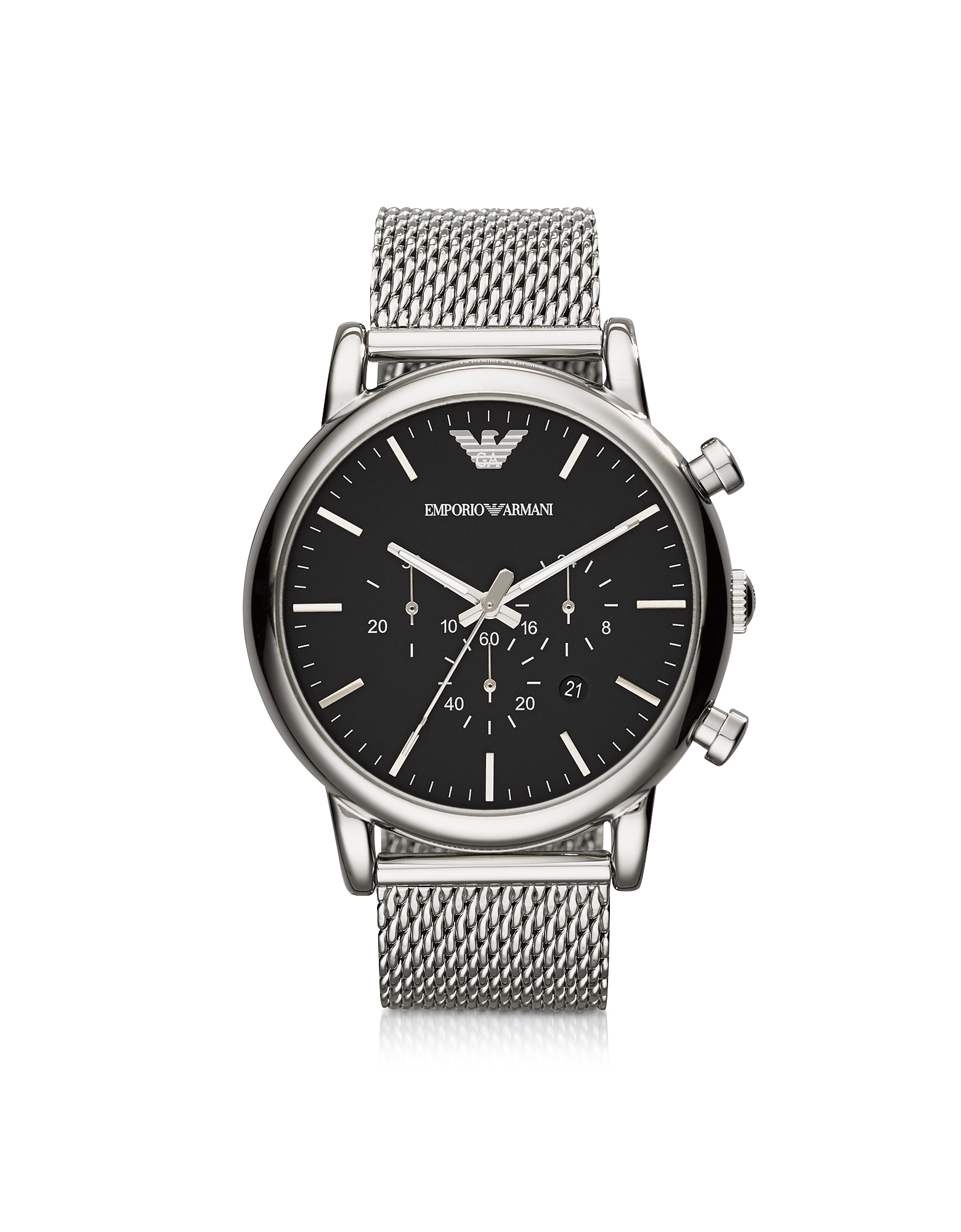Black Dial and Stainless Steel Men's Chronograph Watch от Forzieri.com INT