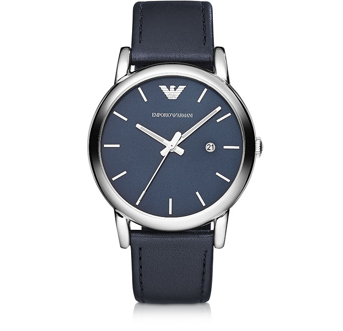 montre en acier inoxydable et bracelet en cuir bleu marine emporio armani sur forzieri. Black Bedroom Furniture Sets. Home Design Ideas
