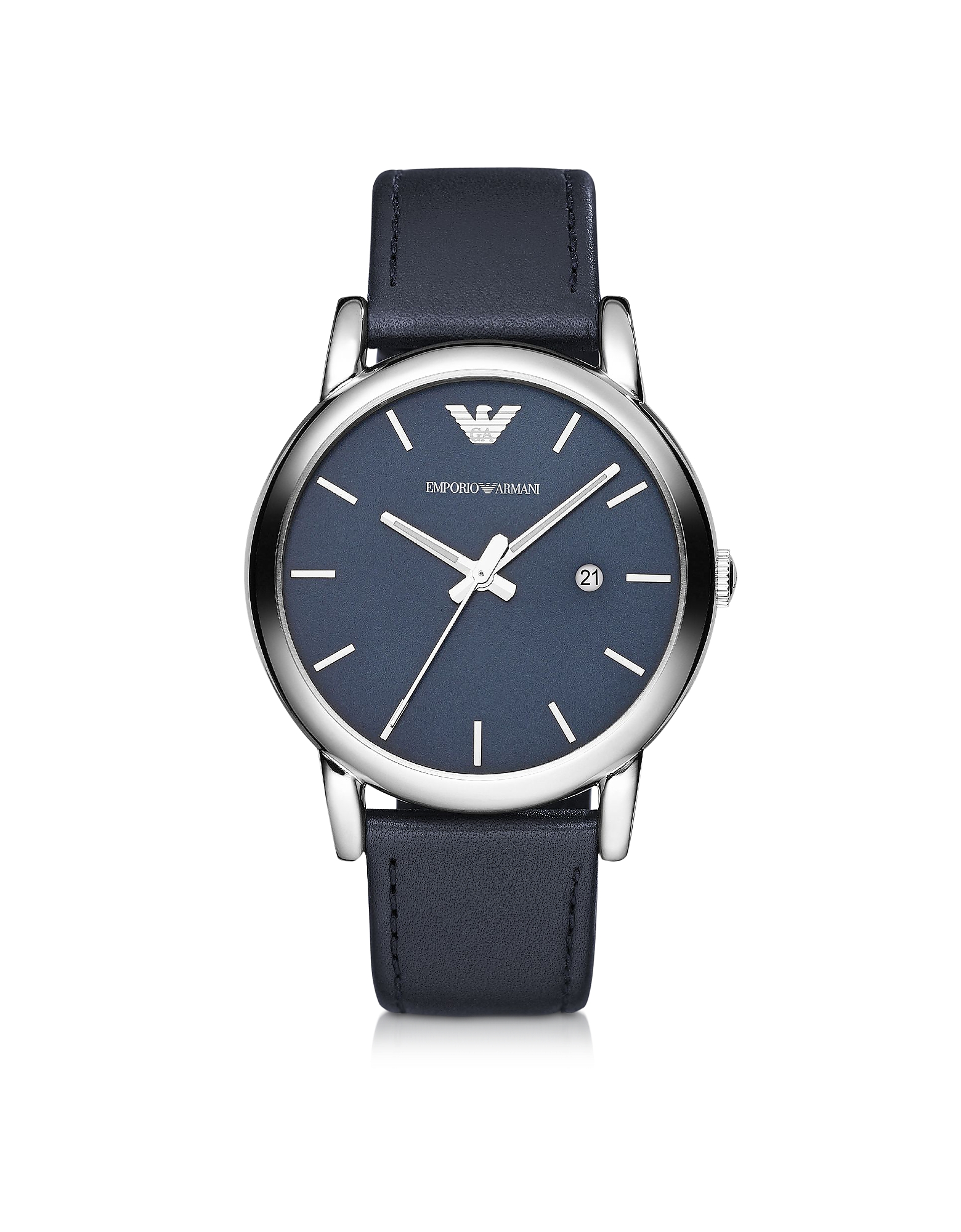 Silver Tone Stainless Steel & Navy Leather Strap Men's Watch от Forzieri.com INT