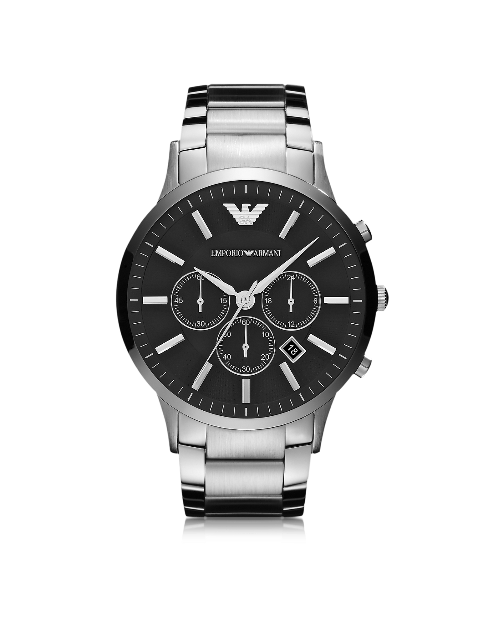 Silver Tone Stainless Steel Men's Watch w/Black Dial от Forzieri.com INT