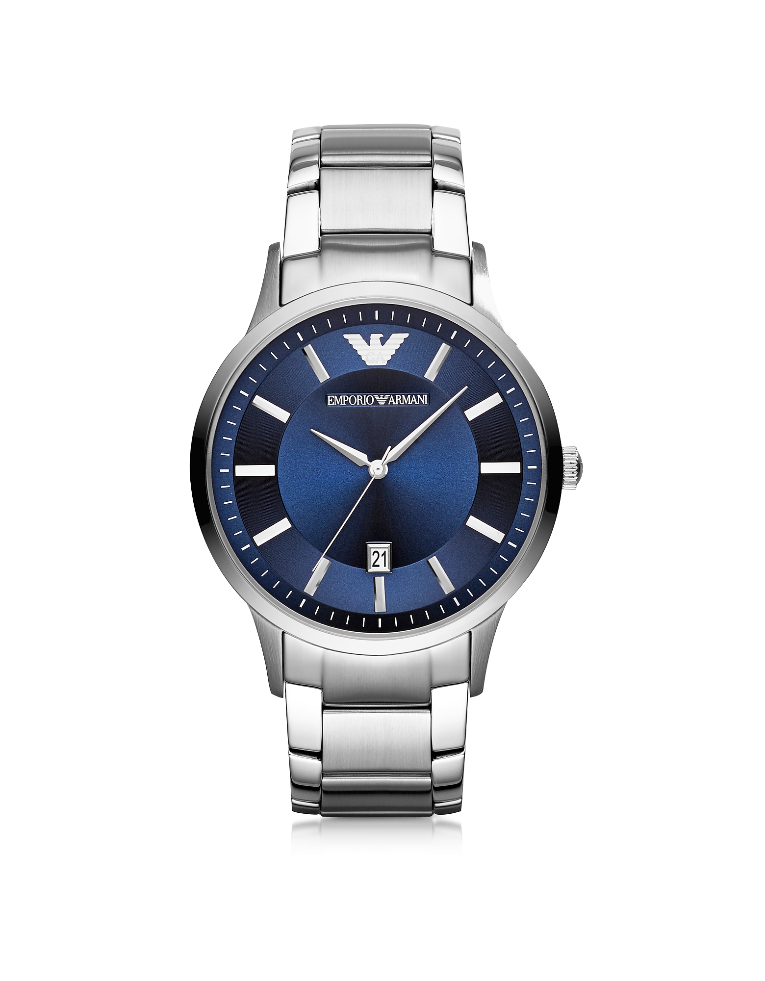 EMPORIO ARMANI | Emporio Armani Designer Men's Watches, Silver Tone Stainless Steel Men's Watch w/Blue Dial | Goxip