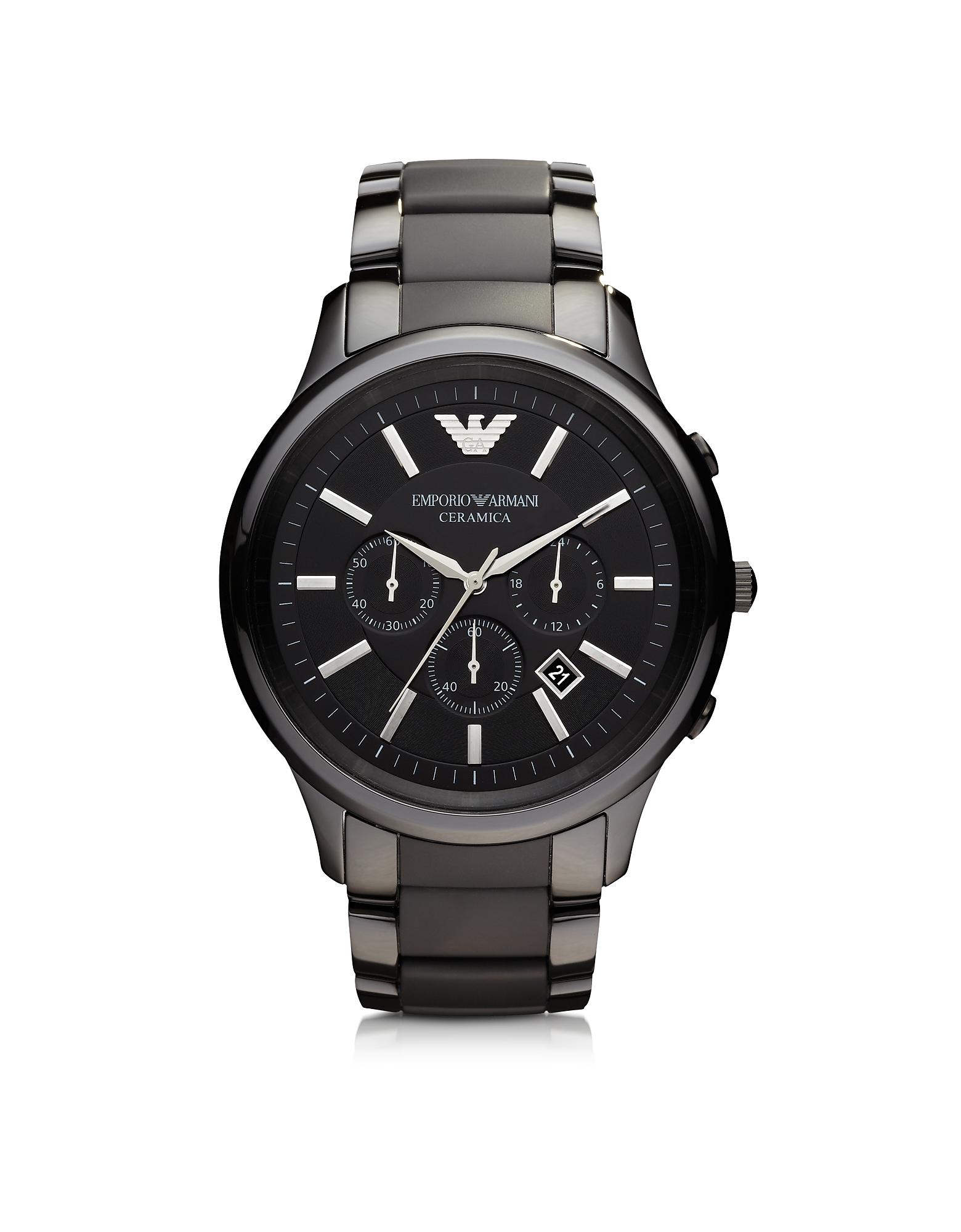 Фото Черные Мужские Часы из Керамики и Нержавеющей Стали. Купить с доставкой