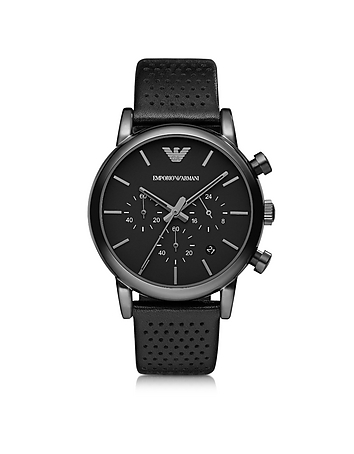Emporio Armani - Black Stainless Steel & Leather Men's Watch