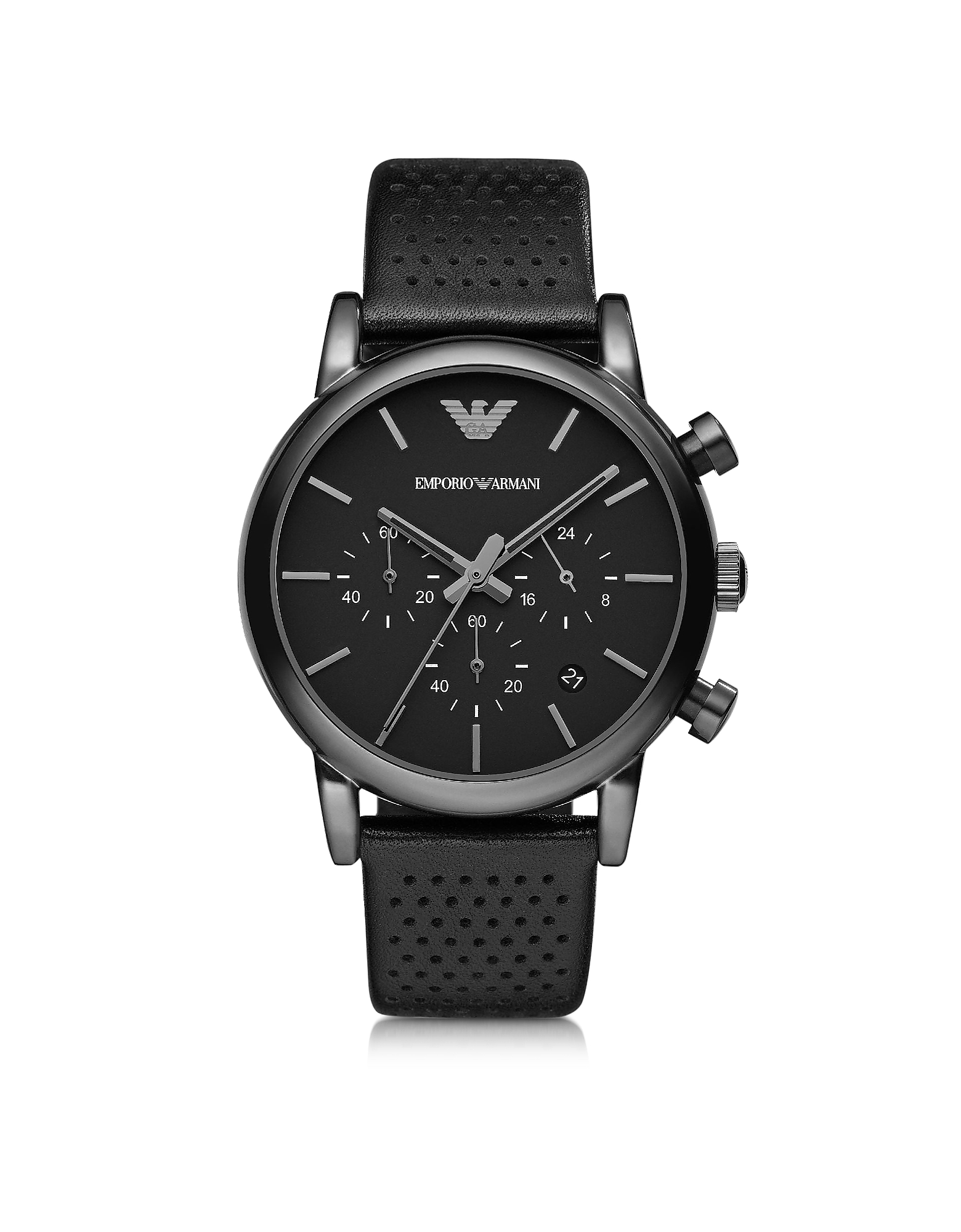 Emporio Armani Men's Watches, Black Stainless Steel & Leather Men's Watch